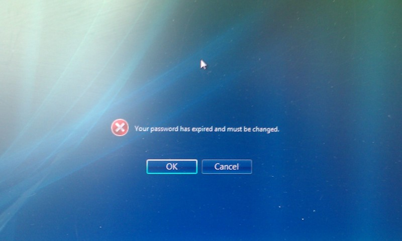 Your password has expired and must be changed. [OK] [Cancel]